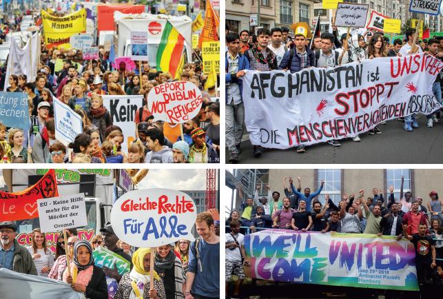 [Fotos: Auswahl von Bildern vom Camp 2018 und der Parade 2017 in Berlin. Die Urheberrechte liegen bei We'll Come United Berlin und Brandenburg.]